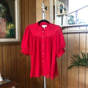 Red Moulinette Soeurs Band Collar Blouse
